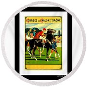 Courses De Chalon French Horse Racing 1911 II Leon Gambey Round Beach Towel