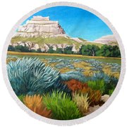 Courthouse And Jail Rocks 2 Round Beach Towel