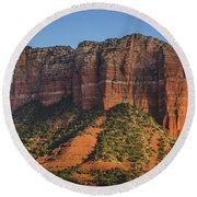 Courthouse Butte At Sunset Round Beach Towel