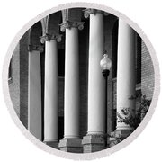 Round Beach Towel featuring the photograph Courthouse Columns by Richard Rizzo