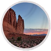 Courthouse Towers Arches National Park At Dawn Round Beach Towel