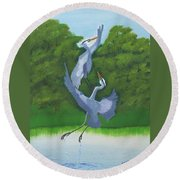 Courtship Dance Round Beach Towel