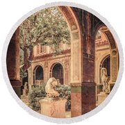 Paris, France - Courtyard West - L'ecole Des Beaux-arts Round Beach Towel