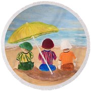 Cousins At The Beach Round Beach Towel