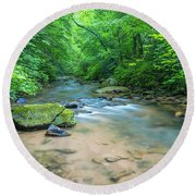 Round Beach Towel featuring the photograph Cove Creek Panorama by Ranjay Mitra