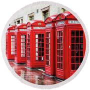Covent Garden Phone Boxes Round Beach Towel