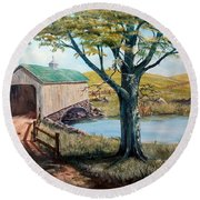 Covered Bridge, Americana, Folk Art Round Beach Towel