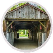Covered Bridge Hdr Round Beach Towel
