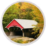 Covered Bridge In Autumn Round Beach Towel