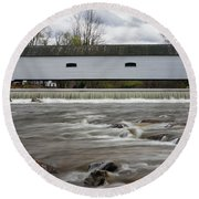 Covered Bridge In March Round Beach Towel