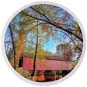 Covered Bridge In Maryland In Autumn Round Beach Towel
