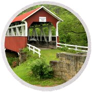 Covered Bridge In Middlecreek Township Round Beach Towel