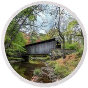 Covered Bridge In Pennsylvania During Autumn Round Beach Towel