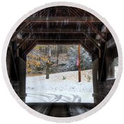 Round Beach Towel featuring the photograph Covered Bridge In Snow - Warren Vt by Joann Vitali