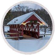 Covered Bridge In The Winter Round Beach Towel