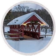 Covered Bridge In The Winter Round Beach Towel