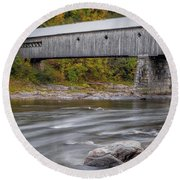 Covered Bridge In Vermont With Fall Foliage Round Beach Towel