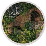 Covered Bridge Round Beach Towel by Lewis Mann