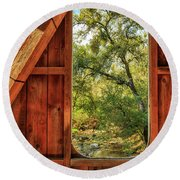 Round Beach Towel featuring the photograph Covered Bridge Window by James Eddy