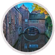 Round Beach Towel featuring the photograph Covered Canal In Den Bosch by Frans Blok