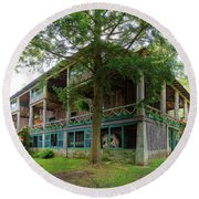 Round Beach Towel featuring the photograph Covewood Lodge On Big Moose Lake by David Patterson