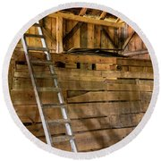 Round Beach Towel featuring the photograph Cow Barn Ladder by Tom Singleton