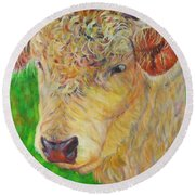 Cute And Curly Cow Round Beach Towel