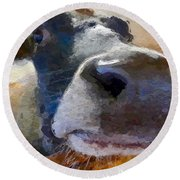 Cow Face Close Up Round Beach Towel