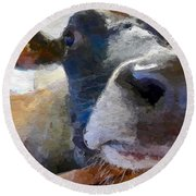 Round Beach Towel featuring the painting Cow Face Close Up by Joan Reese