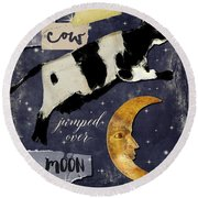 Cow Jumped Over The Moon Round Beach Towel