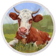 Cow Lick Mini Painting  Round Beach Towel