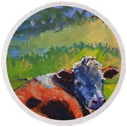Cow Lying Down On A Sunny Day Round Beach Towel
