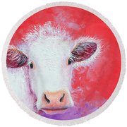 Cow Painting - Charolais Round Beach Towel