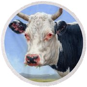 Cow Portrait  Mini Painting Round Beach Towel