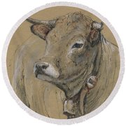 Cow Portrait Painting Round Beach Towel