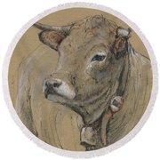 Cow Portrait Painting Round Beach Towel by Juan Bosco