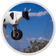 Cow Power Round Beach Towel by Skip Hunt