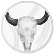 Cow Skull Knockout On White Round Beach Towel