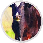 Round Beach Towel featuring the photograph Cow Stare 2 . Photoart by Wingsdomain Art and Photography