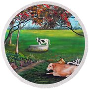 Cow Tales Round Beach Towel