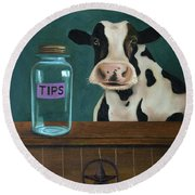 Cow Tipping Round Beach Towel