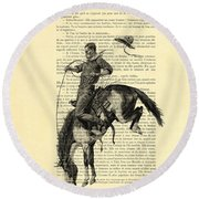 Cowboy And Horse, Western Art Round Beach Towel