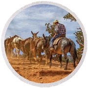 Cowboy And Mule Train On The South Kaibab Trail In The Grand Canyon Round Beach Towel