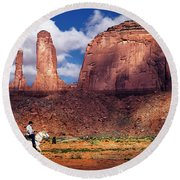 Round Beach Towel featuring the photograph Cowboy And Three Sisters by William Lee