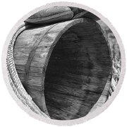 Cowboy Boots In Black And White Round Beach Towel
