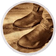 Cowboy Boots On Saloon Floor Round Beach Towel