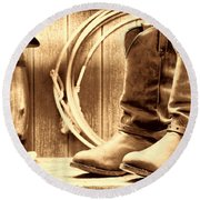 Cowboy Boots On The Deck Round Beach Towel