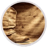 Cowboy Boots On Wood Floor Round Beach Towel