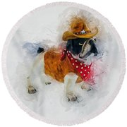 Cowboy Bulldog Round Beach Towel