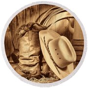 Cowboy Gear In Barn Round Beach Towel